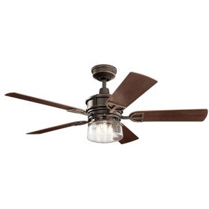 Lyndon Patio - Ceiling Fan with Light Kit - with Transitional inspirations - 19 inches tall by 52 inches wide