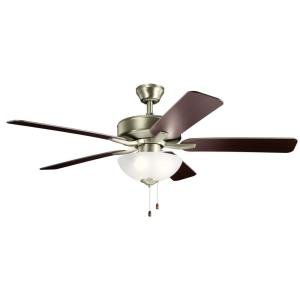 Basics Pro Select - Ceiling Fan with Light Kit - with Traditional inspirations - 17.5 inches tall by 52 inches wide