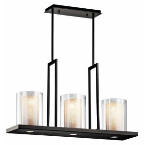 Triad - 3 light Linear Chandelier - 18 inches tall by 7.75 inches wide
