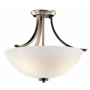 Granby - 3 light Semi-Flush Mount - with Transitional inspirations - 14 inches tall by 17.25 inches wide