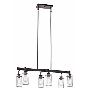 Braelyn - 6 Light Linear Chandelier - with Vintage Industrial inspirations - 11.5 inches tall by 15 inches wide