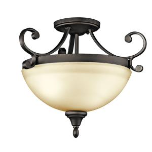 Monroe - 2 Light Semi-Flush Mount - with Traditional inspirations - 14.25 inches tall by 17.25 inches wide