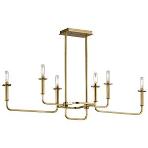 Alden - 6 Light Linear Chandelier - with Mid-Century/Retro inspirations - 17.5 inches tall by 11 inches wide