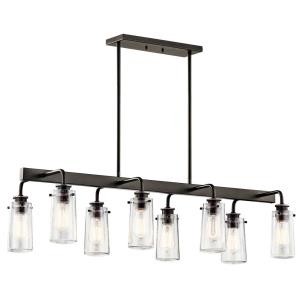 Braelyn - 8 Light Linear Chandelier - with Vintage Industrial inspirations - 11.5 inches tall by 15 inches wide