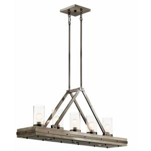 Colerne - 5 Light Linear Chandelier - with Lodge/Country/Rustic inspirations - 21 inches tall by 10.75 inches wide