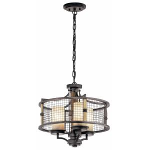 Ahrendale - 3 light Chandelier - with Lodge/Country/Rustic inspirations - 16.75 inches tall by 17.75 inches wide
