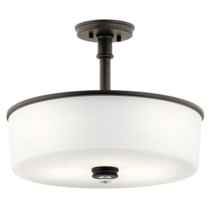 Joelson - 3 Light Semi-Flush Mount - with Transitional inspirations - 16.75 inches tall by 17.75 inches wide