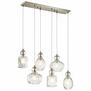 Riviera - 6 light Double Linear Pendant - 12.25 inches wide