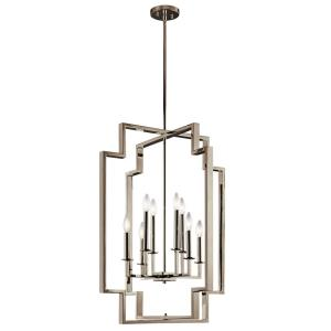 Downtown Deco - 4 Light Foyer Chandelier - with Transitional inspirations - 17 inches tall by 12 inches wide