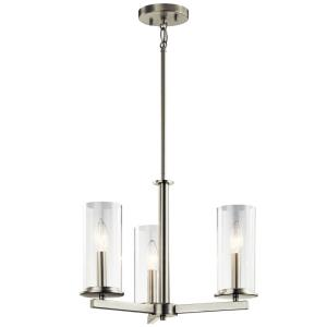 Crosby - 3 light Convertible Chandelier - with Contemporary inspirations - 13.75 inches tall by 18 inches wide