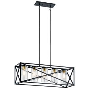 Moorgate - 5 light Linear Chandelier - with Lodge/Country/Rustic inspirations - 12.75 inches tall by 12 inches wide