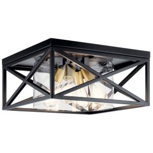 Moorgate - 4 Light Flush Mount - with Lodge/Country/Rustic inspirations - 8 inches tall by 16 inches wide