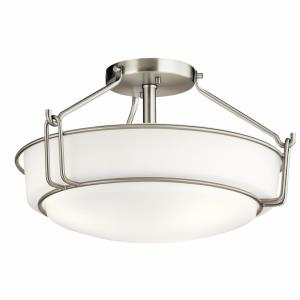 Alkire - 3 light Semi-Flush Mount - with Transitional inspirations - 9.25 inches tall by 16.5 inches wide