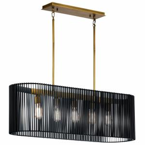 Linara - 5 light Linear Chandelier - with Contemporary inspirations - 12.5 inches tall by 12 inches wide