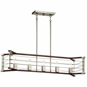 Lente - 5 light Linear Chandelier - with Vintage Industrial inspirations - 13.5 inches tall by 12 inches wide