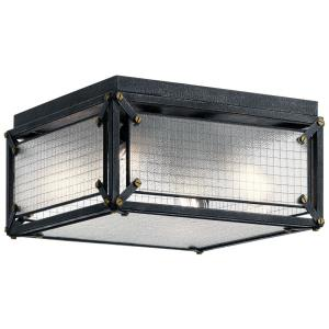 Steel - 4 light Flush Mount - 8 inches tall by 15.5 inches wide