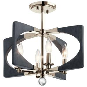 Alscar - 4 light Semi-Flush Mount - with Transitional inspirations - 15 inches tall by 17.75 inches wide