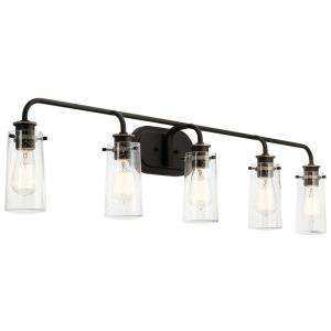 Braelyn - 5 Light Bath Vanity Approved for Damp Locations - with Vintage Industrial inspirations - 10 inches tall by 44 inches wide