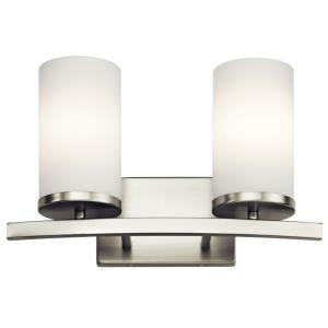 Crosby - 2 Light Bath Vanity Approved for Damp Locations - with Contemporary inspirations - 15 inches wide