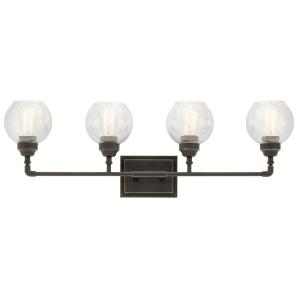 Niles - 4 Light Transitional Bath Vanity Approved for Damp Locations - with Vintage Industrial inspirations - 10.75 inches tall by 33.25 inches wide