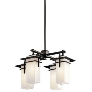 Caterham - 4 light Square Chandelier - with Contemporary inspirations - 12.75 inches tall by 21 inches wide