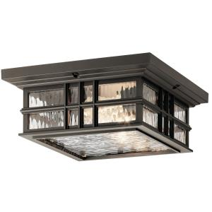 Beacon Square - 2 light Outdoor Flush Mount - with Arts and Crafts/Mission inspirations - 5.25 inches tall by 12 inches wide