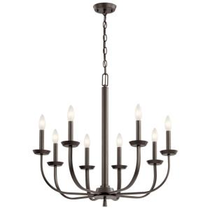 Kennewick - 8 Light Chandelier - with Traditional inspirations - 25 inches tall by 27.25 inches wide