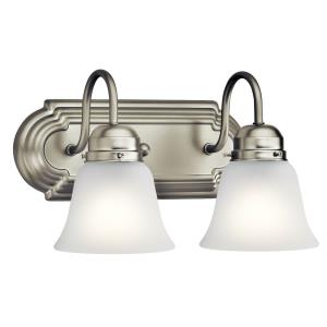 2 Light Bath Vanity Approved for Damp Locations - with Traditional inspirations - 8 inches tall by 12.25 inches wide