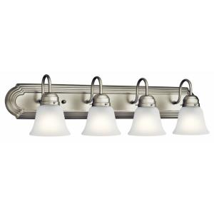 4 Light Bath Vanity Approved for Damp Locations - with Traditional inspirations - 8 inches tall by 30 inches wide