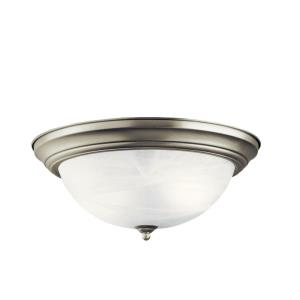 3 light Flush Mount - with Utilitarian inspirations - 6 inches tall by 15.25 inches wide