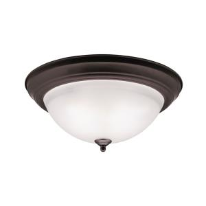 Wide 3-Light Flush Mount - with Utilitarian inspirations - 6 inches tall by 15.25 inches wide